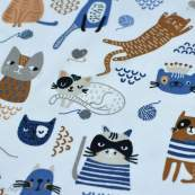 Tissu jersey coton motif chat - Blanc, bleu et camel - Oeko-Tex ® et GOTS ® Autres marques - 3