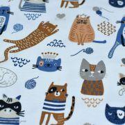 Tissu jersey coton motif chat - Blanc, bleu et camel - Oeko-Tex ® et GOTS ® Autres marques - 4