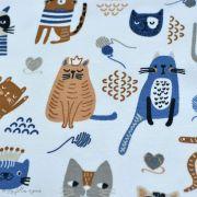 Tissu jersey coton motif chat - Blanc, bleu et camel - Oeko-Tex ® et GOTS ® Autres marques - 5