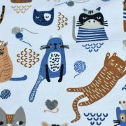 Tissu jersey coton motif chat - Blanc, bleu et camel - Oeko-Tex ® et GOTS ® Autres marques - 6