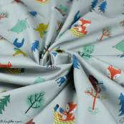 Tissu popeline coton motif de noël - Gris et multicolore - Bio - Lillestoff ® Lillestoff ® - 2