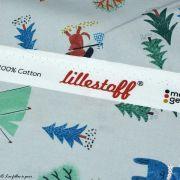 Tissu popeline coton motif de noël - Gris et multicolore - Bio - Lillestoff ® Lillestoff ® - 7