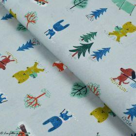 Tissu popeline coton motif de noël - Gris et multicolore - Bio - Lillestoff ® Lillestoff ® - Tissus Bio - 1