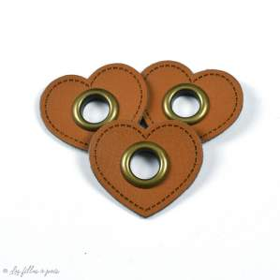 Oeillet simili cuir de couture coeur - Lot de 2 - 8mm - 8