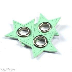 Oeillet simili cuir de couture étoile - Lot de 2 - 8mm - 1