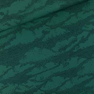Tissu french terry coton CLOUD motif nuages - Vert Bistro - Oeko-Tex ® - See You At Six ® See You At Six ® - Tissus Oekotex - 1