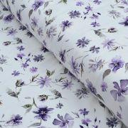 """Tissu jersey coton motif fleurs """"Floral Wild Daisies"""" - Blanc et violet - Oeko-Tex ®"""