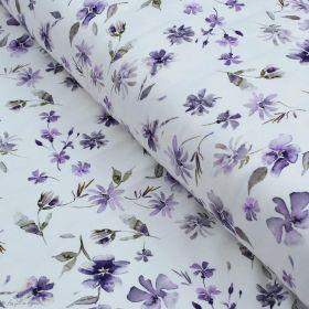 "Tissu jersey coton motif fleurs ""Floral Wild Daisies"" - Blanc et violet - Oeko-Tex ® Family Fabrics ® - Tissus oekotex - 1"
