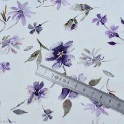 "Tissu jersey coton motif fleurs ""Floral Wild Daisies"" - Blanc et violet - Oeko-Tex ® Family Fabrics ® - Tissus oekotex - 5"
