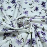 "Tissu jersey coton motif fleurs ""Floral Wild Daisies"" - Blanc et violet - Oeko-Tex ® Family Fabrics ® - Tissus oekotex - 2"