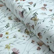 """Tissu jersey coton motif fleurs """"Flowers and Butterflies"""" - Blanc et tons ocre, terracotta et vert - Oeko-Tex ®"""