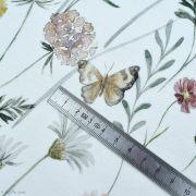 """Tissu jersey coton motif fleurs """"Flowers and Butterflies"""" - Blanc et tons ocre, terracotta et vert - Oeko-Tex ® Family Fabrics ®"""