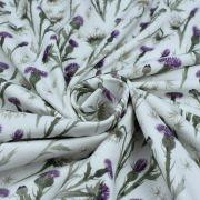 "Tissu jersey coton motif chardon ""Thistle"" - Blanc et violet - Oeko-Tex ® Family Fabrics ® - Tissus oekotex - 3"