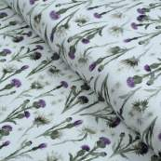 "Tissu jersey coton motif chardon ""Thistle"" - Blanc et violet - Oeko-Tex ®"