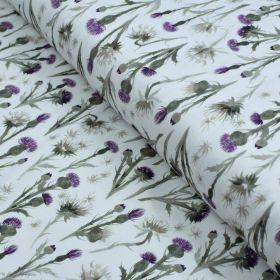 "Tissu jersey coton motif chardon ""Thistle"" - Blanc et violet - Oeko-Tex ® Family Fabrics ® - Tissus oekotex - 1"
