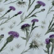 "Tissu jersey coton motif chardon ""Thistle"" - Blanc et violet - Oeko-Tex ® Family Fabrics ® - Tissus oekotex - 2"