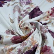"Tissu jersey coton motif fleurs ""Vintage Floral"" - Blanc et violet - Oeko-Tex ® Family Fabrics ® - Tissus oekotex - 3"