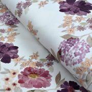 "Tissu jersey coton motif fleurs ""Vintage Floral"" - Blanc et violet - Oeko-Tex ®"