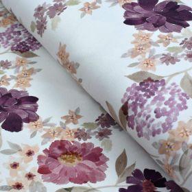 "Tissu jersey coton motif fleurs ""Vintage Floral"" - Blanc et violet - Oeko-Tex ® Family Fabrics ® - Tissus oekotex - 1"