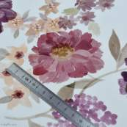 "Tissu jersey coton motif fleurs ""Vintage Floral"" - Blanc et violet - Oeko-Tex ® Family Fabrics ® - Tissus oekotex - 5"