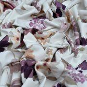 "Tissu jersey coton motif fleurs ""Vintage Floral"" - Blanc et violet - Oeko-Tex ® Family Fabrics ® - Tissus oekotex - 4"