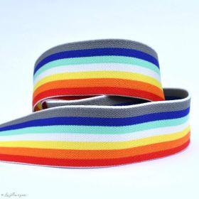 Elastique plat esprit Arc-en ciel - Multicolore - 40mm - 1