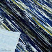 Tissu french terry coton motif rayures - Bleu, ocre, gris et blanc - Oeko-Tex ® - Stenzo Textiles ®