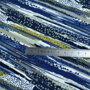 Tissu french terry coton motif rayures - Bleu, ocre, gris et blanc - Oeko-Tex ® - Stenzo Textiles ® Stenzo Textiles ® - Tissus O