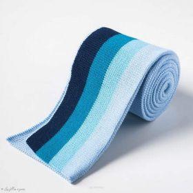 Bord côte double à rayure - Tons bleus Autres marques - Tissus et mercerie - 1