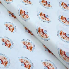 "Tissu coton motif éventails ""Homebody"" - Ecru et terracotta - Oekotex - AGF ® Art Gallery Fabrics ® - Tissus - 1"