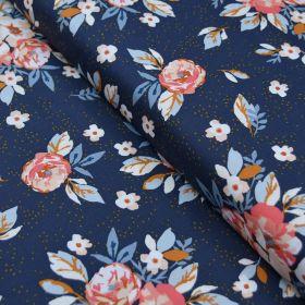 "Tissu coton motif fleurs ""Homebody"" - Bleu foncé, orange et vert - Oekotex - AGF ® Art Gallery Fabrics ® - Tissus - 1"
