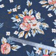 "Tissu coton motif fleurs ""Homebody"" - Bleu foncé, orange et vert - Oekotex - AGF ® Art Gallery Fabrics ® - Tissus - 4"