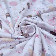 """Tissu jersey coton motif fée """"Demilune"""" - Rose - Oeko-Tex ® Domotex ® - Tissus Oekotex et BIO - 2"""