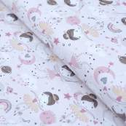 """Tissu jersey coton motif fée """"Demilune"""" - Rose - Oeko-Tex ® Domotex ® - Tissus Oekotex et BIO - 1"""