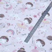 """Tissu jersey coton motif fée """"Demilune"""" - Rose - Oeko-Tex ® Domotex ® - Tissus Oekotex et BIO - 6"""