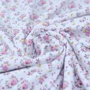 """Tissu jersey coton motif petites fleurs """"Fledi"""" - Blanc et rose - Oeko-Tex ® Domotex ® - Tissus Oekotex et BIO - 2"""