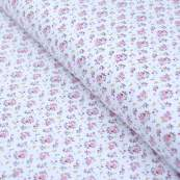 "Tissu jersey coton motif petites fleurs ""Fledi"" - Blanc et rose - Oeko-Tex ®"