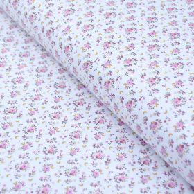 """Tissu jersey coton motif petites fleurs """"Fledi"""" - Blanc et rose - Oeko-Tex ® Domotex ® - Tissus Oekotex et BIO - 1"""