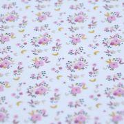 """Tissu jersey coton motif petites fleurs """"Fledi"""" - Blanc et rose - Oeko-Tex ® Domotex ® - Tissus Oekotex et BIO - 4"""