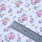 """Tissu jersey coton motif petites fleurs """"Fledi"""" - Blanc et rose - Oeko-Tex ® Domotex ® - Tissus Oekotex et BIO - 7"""
