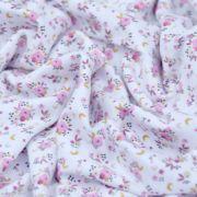 """Tissu jersey coton motif petites fleurs """"Fledi"""" - Blanc et rose - Oeko-Tex ® Domotex ® - Tissus Oekotex et BIO - 6"""