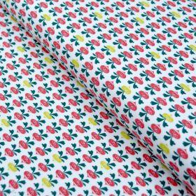 "Tissu jersey coton motif radis ""Radiz"" - Blanc, Ocre et, vert et Terracotta - Oeko-Tex ® Domotex ® - Tissus Oekotex et BIO - 1"