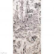 "Tissu coton motif tête de mort ""Skelewags"" pirates - Noir et blanc - Henry Alexander ® Alexander HENRY Fabrics ® - Tissus - 8"