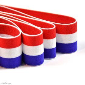 Elastique plat à rayure motif drapeaux de France ou Pays-Bas - Bleu, Blanc et rouge - 40mm - 1