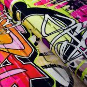"Tissu jersey motif tags ""Graffiti Art Wall"" - Multicolore"
