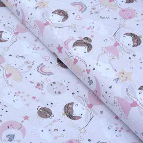 """Tissu coton motif Fée """"Demilune"""" - Rose - Oeko-Tex ® Autres marques - Tissus et mercerie - 1"""