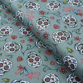 """Tissu coton motif Têtes de mort mexicaines """"Calavera"""" - Vert - Oeko-Tex ® Autres marques - Tissus et mercerie - 1"""