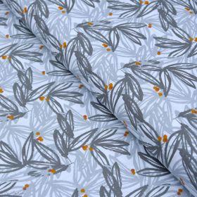 "Tissu coton motif Feuilles ""Nabali"" - Gris et Ocre - Oeko-Tex ® Autres marques - Tissus et mercerie - 1"