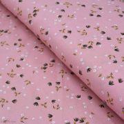 """Tissu viscose motif Fleurs """"Yposia"""" - Rose - Oeko-Tex ®"""