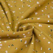 """Tissu viscose motif Fleurs """"Nozbi"""" - Ocre - Oeko-Tex ® Autres marques - Tissus et mercerie - 3"""